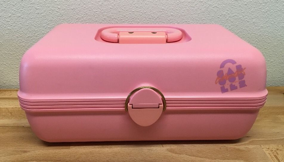 Vtg Caboodles Makeup Case Pink Organizer W Slide Out Tray Model