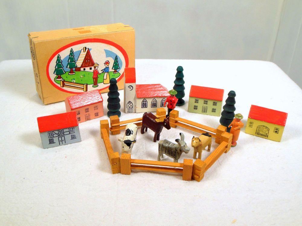 Vintage Dregeno East Germany Putz Village Farm Animals Trees Erzgebirge IOB