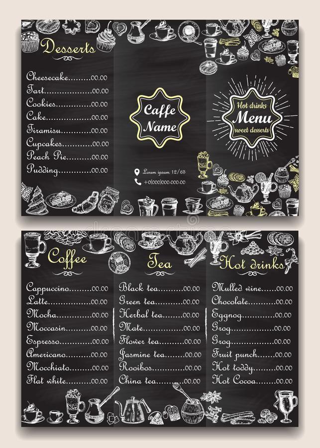 Restaurant Hot Drinks Menu Design With Chalkboard Background Vector Illustration Templa Cafeteria Menu Plantilla De Menu De Restaurante Restaurantes Desayunos