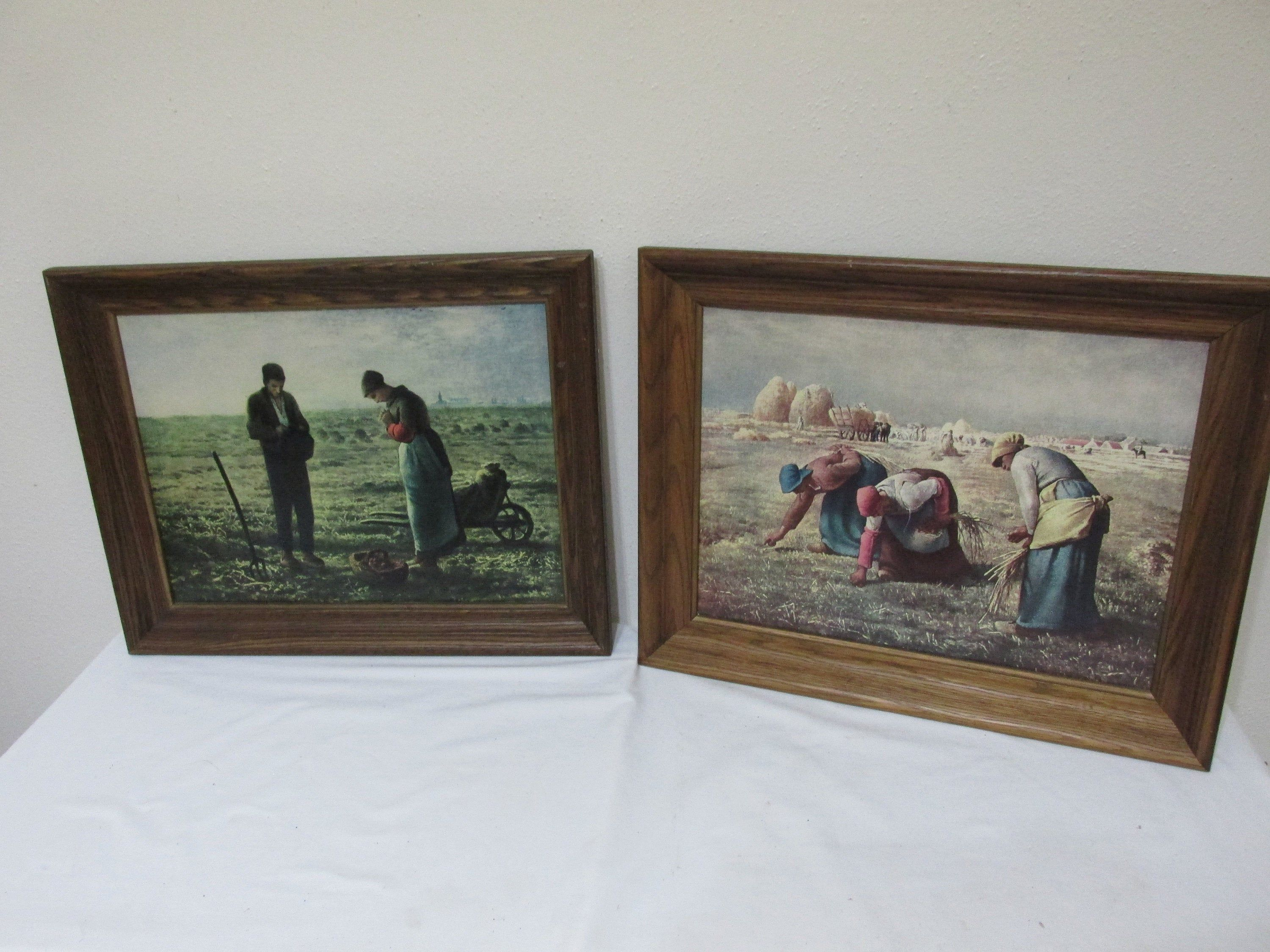 Pictures The Angelus And The Gleaners Set Of 2 In Wood Frames Jean Francois Millet Frame Vintage Picture Frames Jean Francois Millet