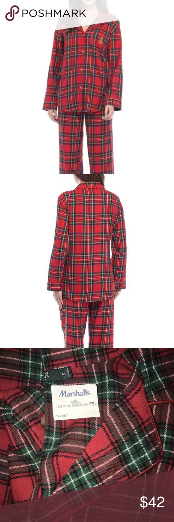 Red flannel pajamas  NEW Lauren Ralph Lauren Red Plaid Pajamas Set XL Boutique  My Posh