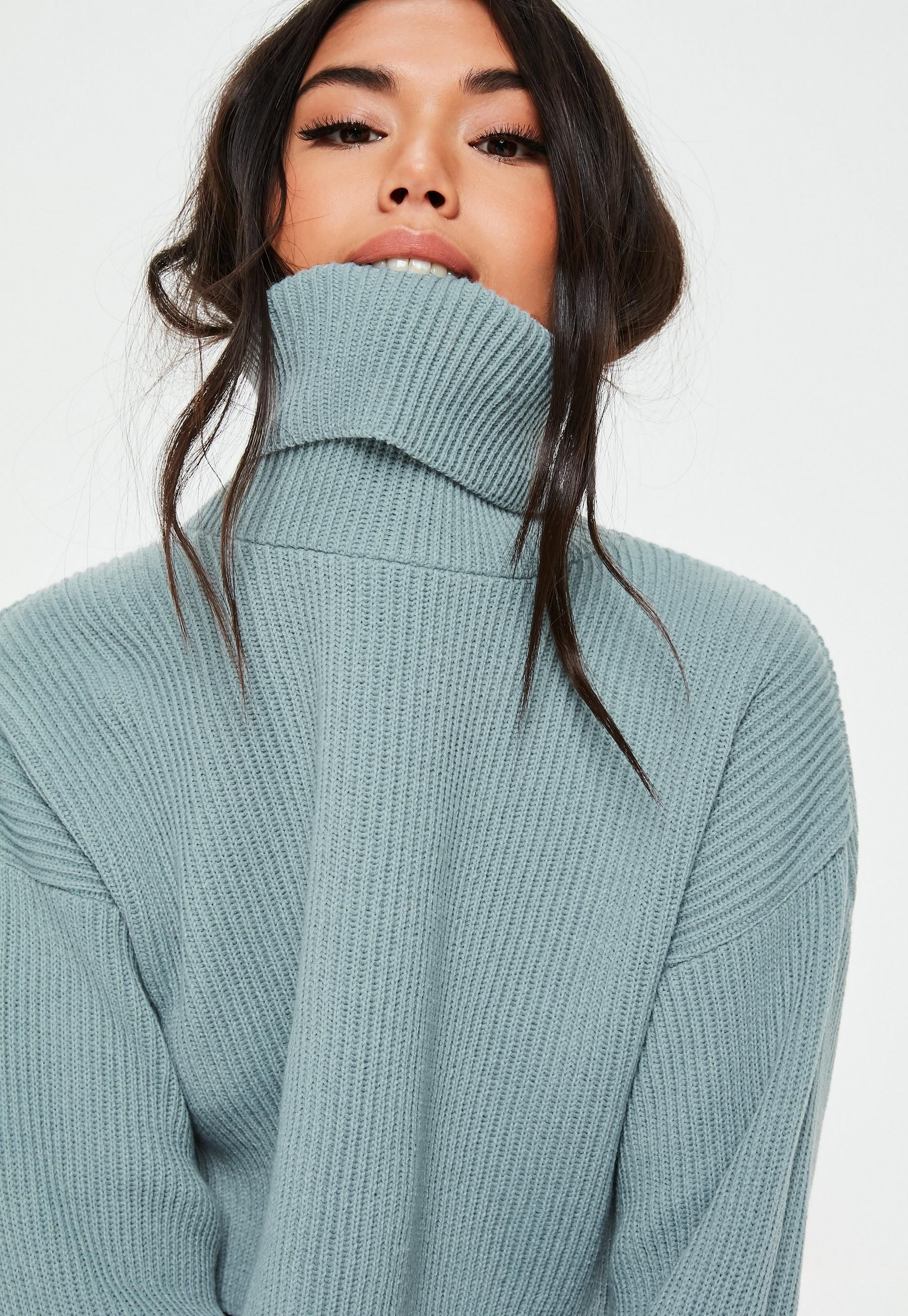 3567bebcbfeee7 Sage Ribbed Roll Neck Knitted Jumper | Missguided Australia | misc ...