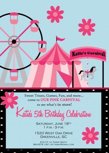 Pink fair fun birthday party invitation girl birthday party pink fair fun birthday party invitation stopboris Choice Image