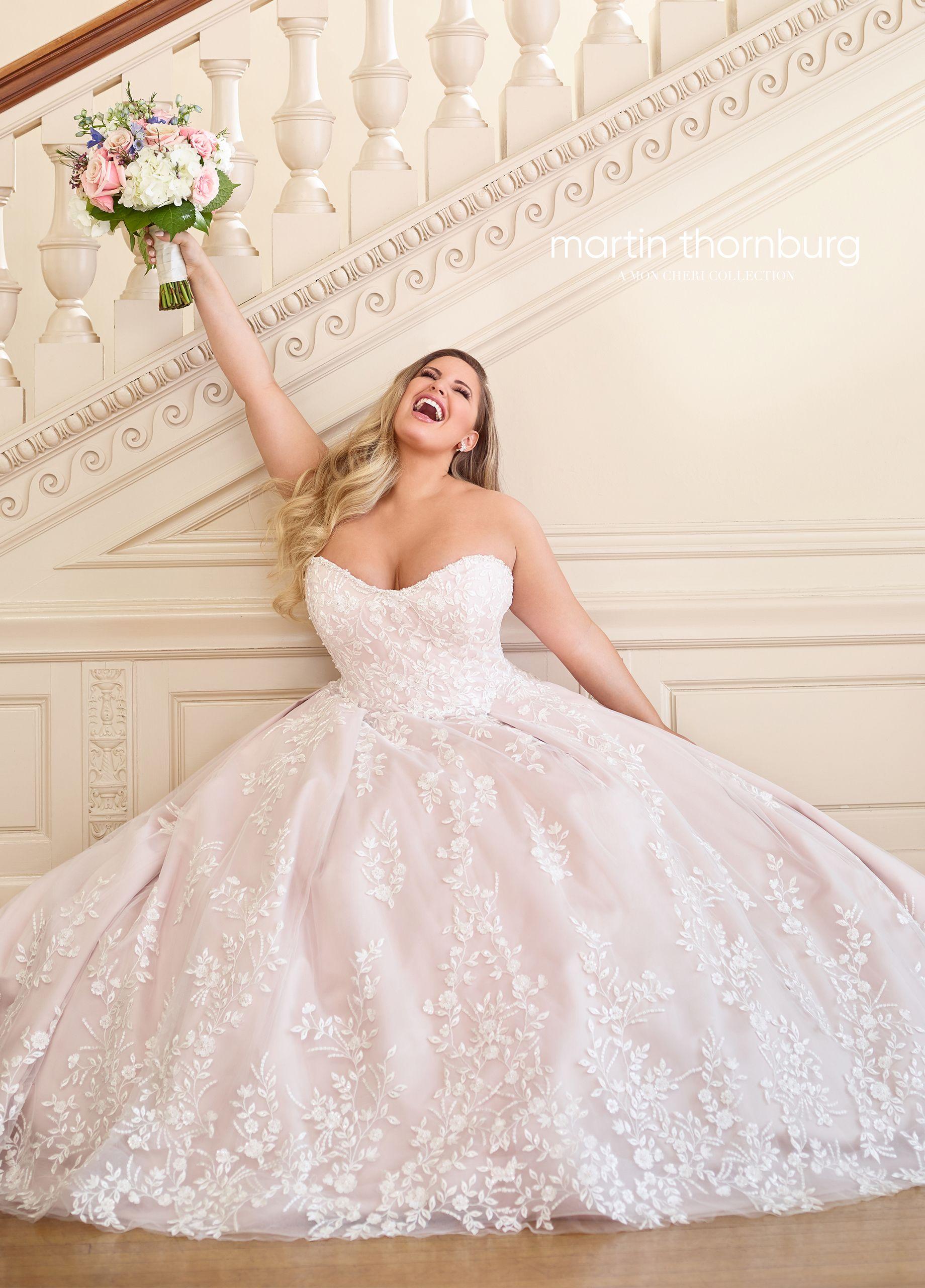 0dde19e8 Martin Thornburg 119252 Hannah - A soft updated spin on the classic ball  gown, this Schiffli lace, tulle, and satin gown features a beautifully  beaded ...