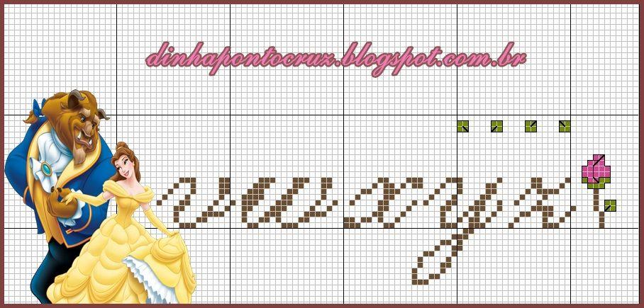 LA BELLA E LA BESTIA | letras y numeros | Pinterest | Punto de cruz ...
