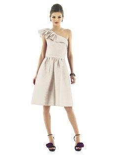 Alfred Sung Style D548  Cocktail length one shoulder peau de soie dress w/ ruffle detail at shoulder and neckline, matching belt.