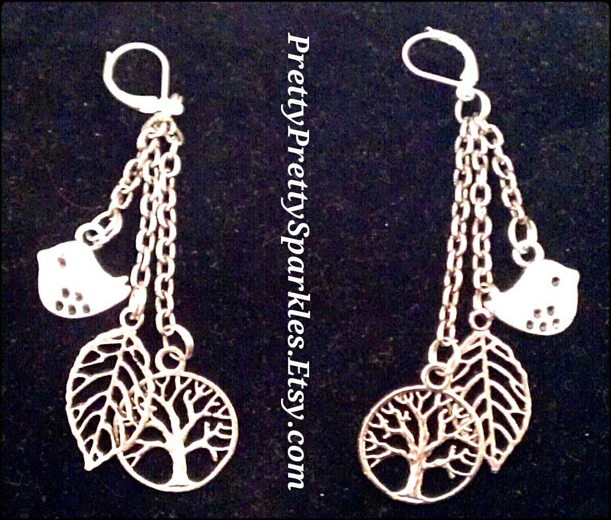 Woodland charm earrings by PrettyPrettySparkles on Etsy #PrettyPrettySparkles  PrettyPrettySparkles.Etsy.com
