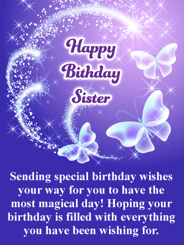 Glitter Happy Bday Sister : glitter, happy, sister, Magical, Happy, Birthday, Sister, Greeting, Cards, Davia, Greetings, Sister,, Wishes