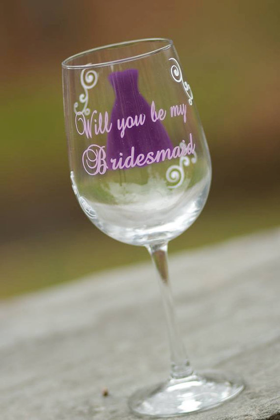 eaec5e9ea15 Will you be my Bridesmaid wine glass by WaterfallDesigns Great way to ask  your girls to be apart of your big day!