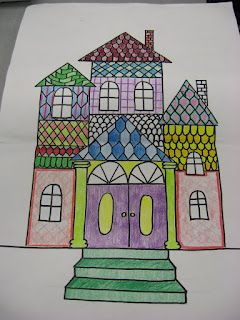 Drawing Gingerbread Victorian Houses Elementary Art Lesson Plans Art Lessons Elementary Art Projects