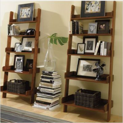 Fine Leaning Bookshelves 2 Maybe With A Console Table Between Home Interior And Landscaping Elinuenasavecom