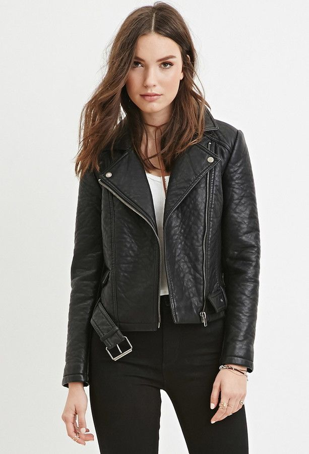 425ea4cd0aa FOREVER 21 Faux Leather Moto Jacket