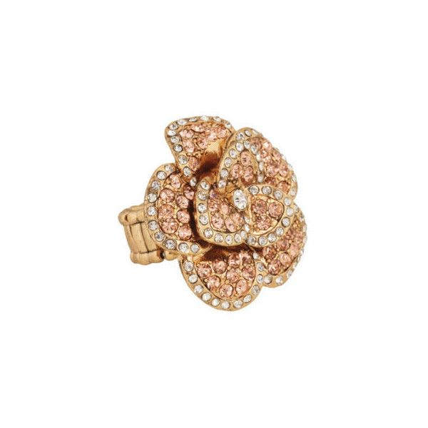 Gorgeous Crystal Flower Ring With Soft Pitch Chain via Polyvore