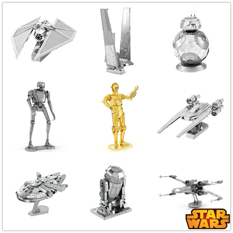 3d 조립 금속 모델 스타 워즈 밀레니엄 팔콘/k-2so/넥타이 스트라이커 나노 퍼즐 diy 선물 중국어 창조적 인 장난감 클래식
