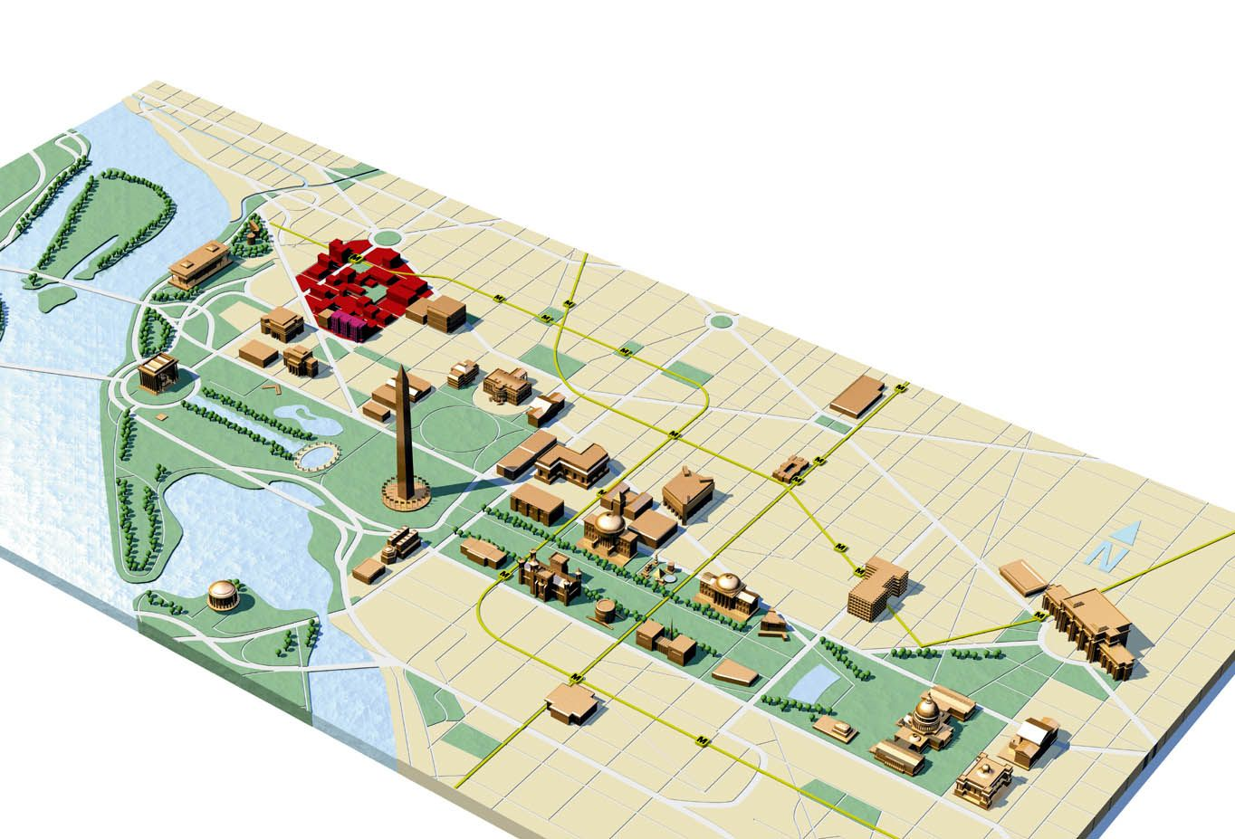Large detailed travel map of Washington D.C. can be scaled down to ...