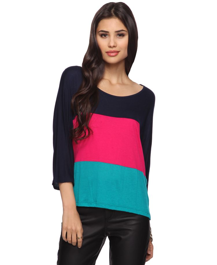 Navy/Pink/Teal colorblock top - $15.80 Forever 21
