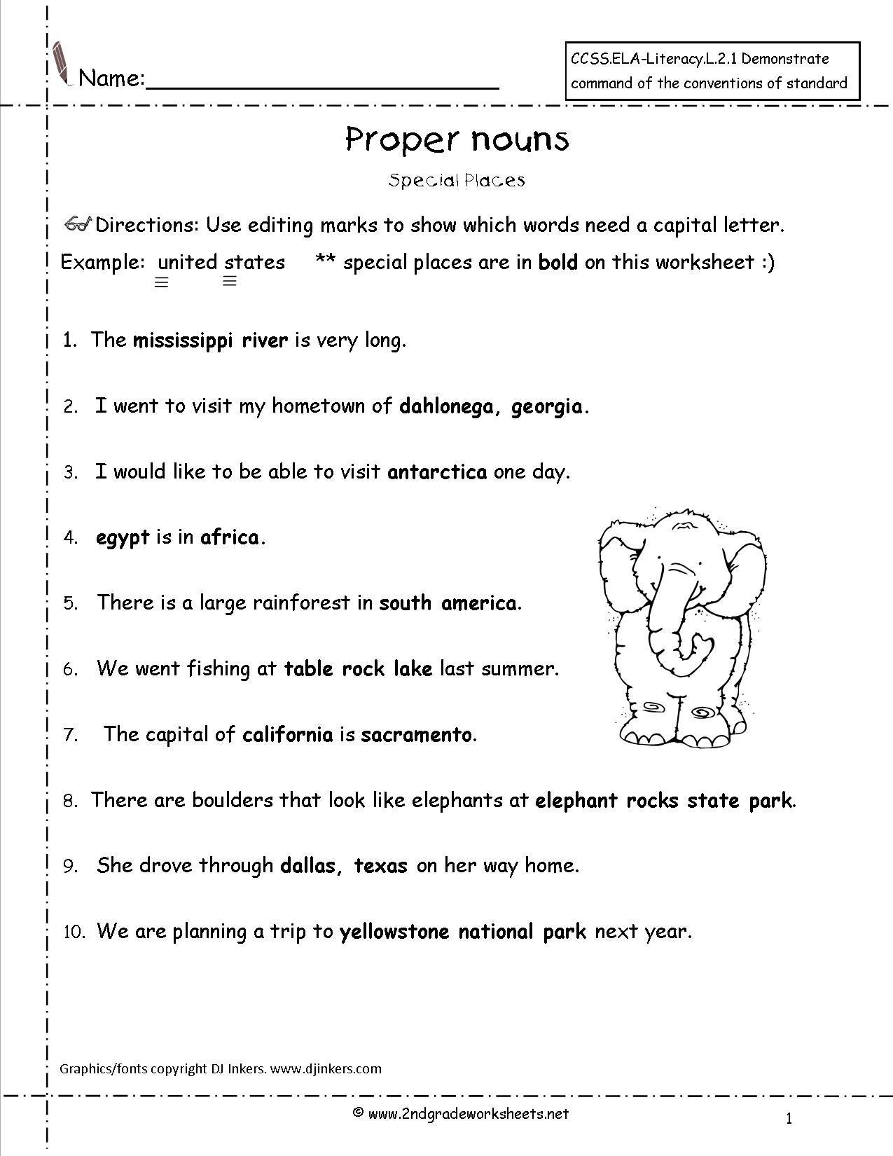 Proper Nouns Worksheets Grade 3