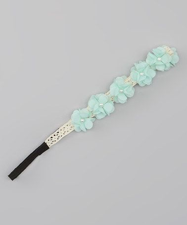 Love this Mint Chiffon Flower & Pearl Bead Head Wrap by Capelli New York on #zulily! #zulilyfinds