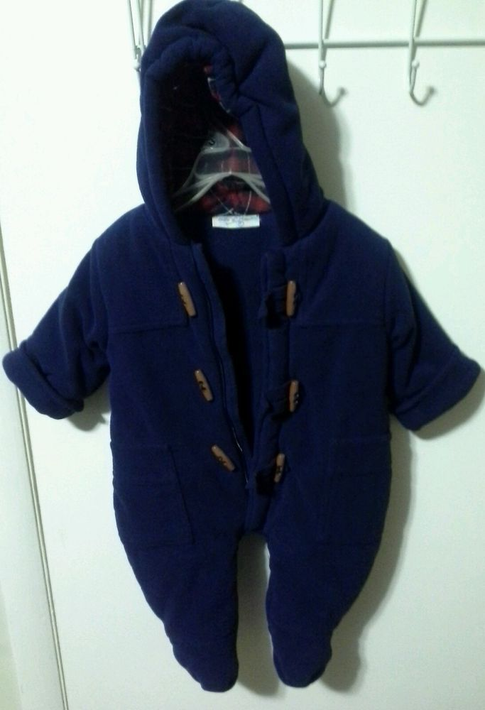 b2a4961964fb BEBE D AMOUR 3-6 months Baby Snow Suit Bunting Navy Blue One Piece ...