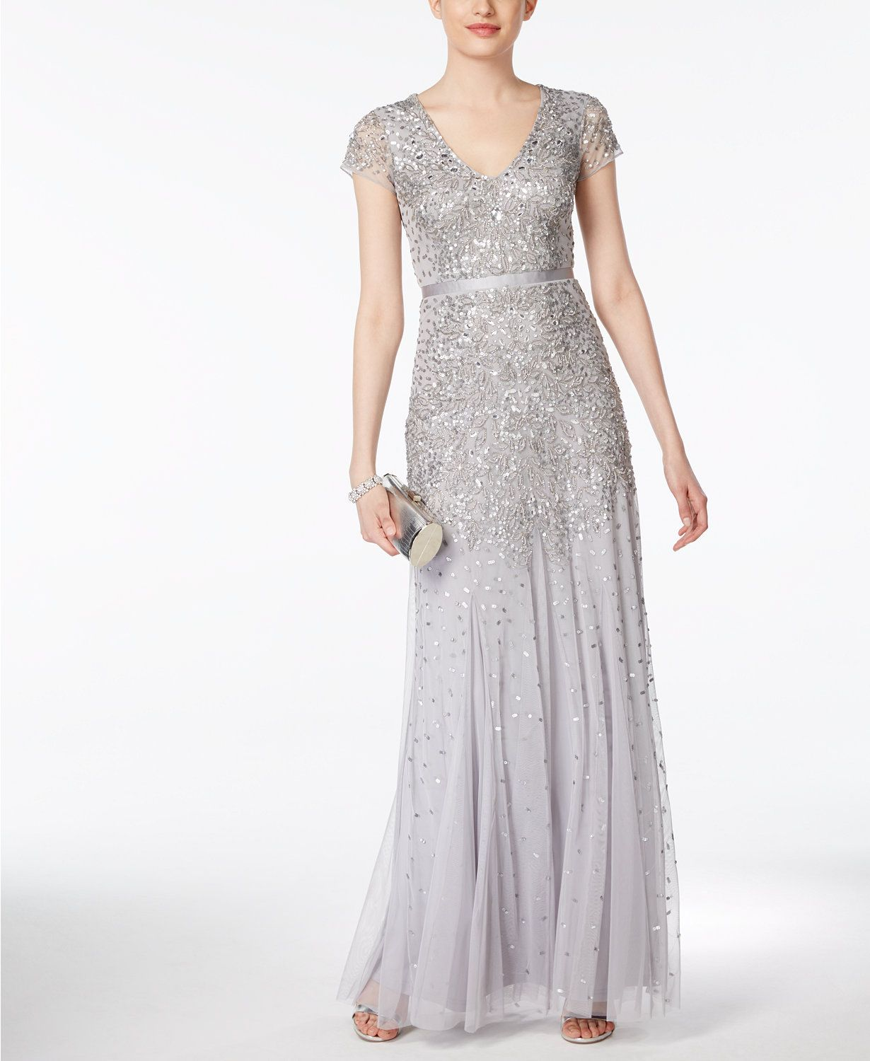Adrianna Papell Cap-Sleeve Embellished Gown | macys.com | Dresses ...