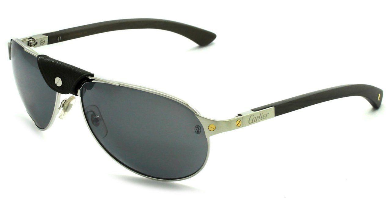 1061f9b54b Buy this authentic Cartier Santos Pilot Grey Polarized Lenses Men s  Sunglasses T8200864 On Sale at WatchWarehouse