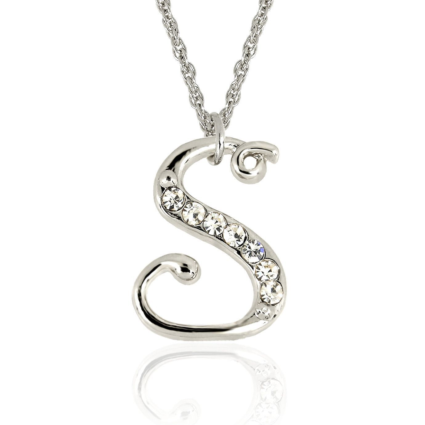 N forever silver crystal initial necklace in gift boxs