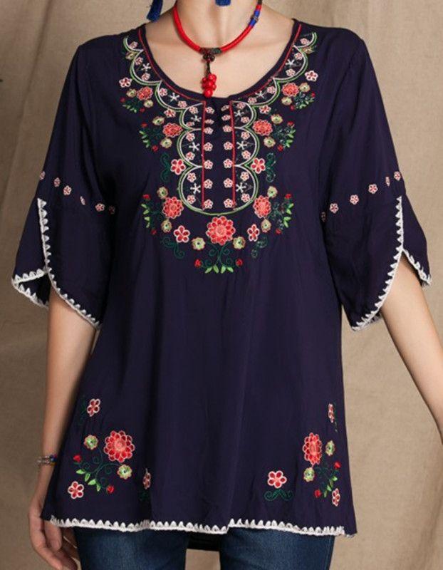 c836d407d Vintage mexicano Floral bordado camisas casuales ropa mujer BOHO ...