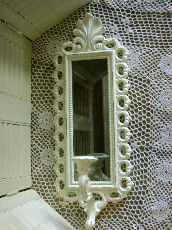 Sconce w/Antiqued Mirror, Wall Decor, Wall Candle Holder ...