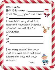 Free Dear Santa Letter Printable  Santa Letter Printable Dear