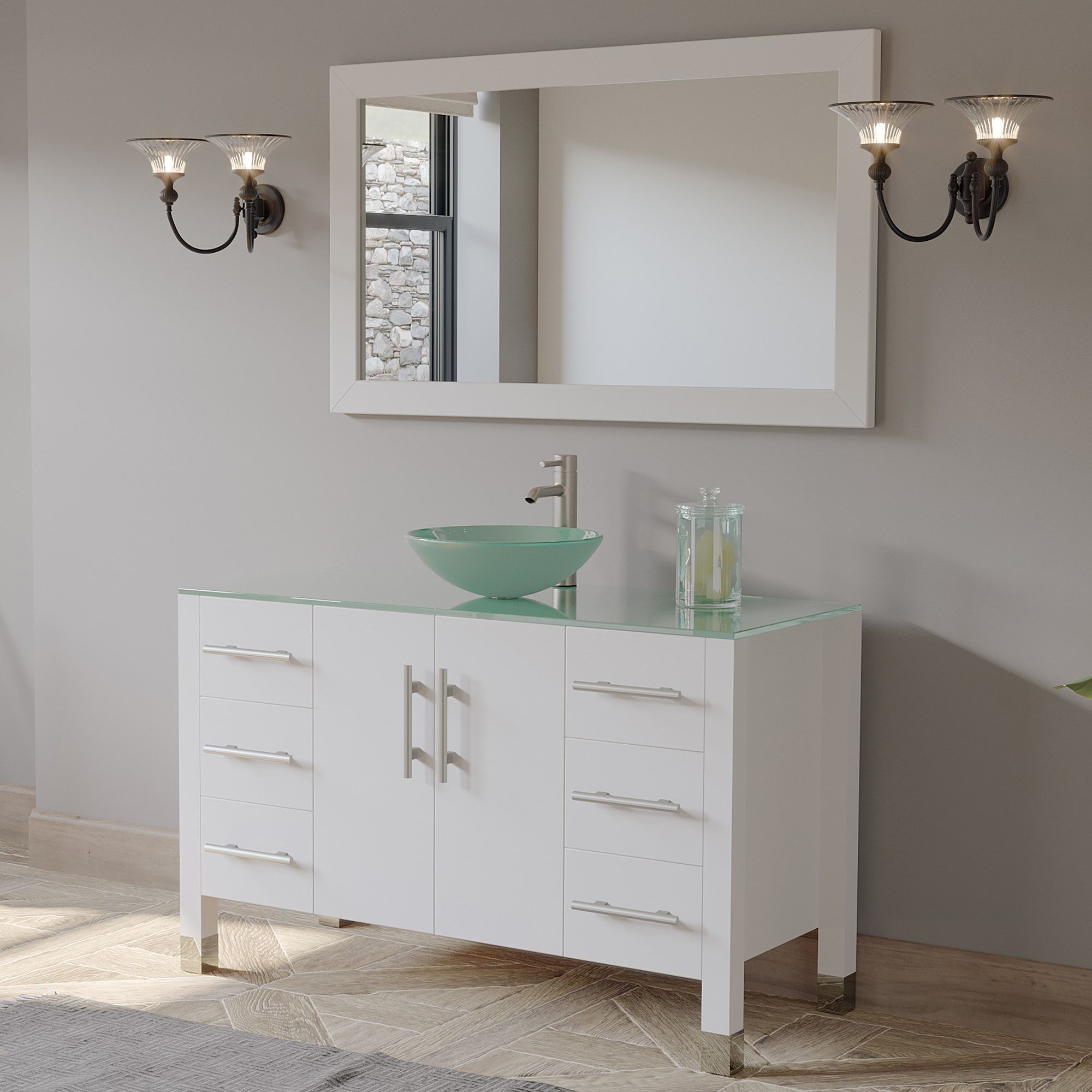 8116bw 48 Inch White Wood And Glass Vessel Sink Vanity Set
