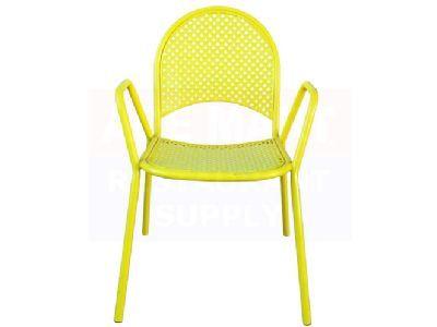 Surprising Bright Yellow Lattice Metal Chair Each Eclectic Chairs Machost Co Dining Chair Design Ideas Machostcouk