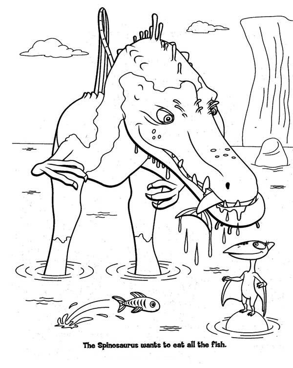 Spinosaurus hunting the fish in dinosaur coloring page for Dinosaur coloring pages spinosaurus