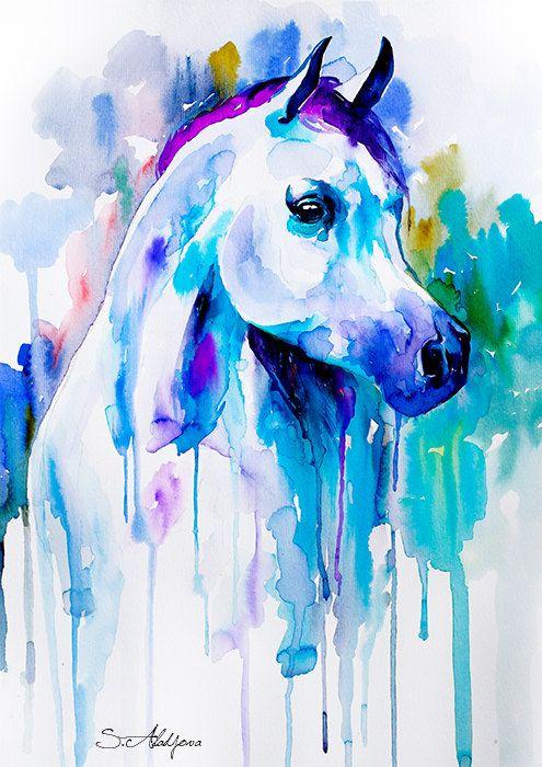 Arabian horse watercolor painting print animal by SlaviART on Etsy
