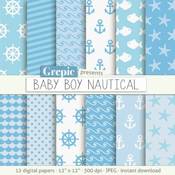 SALE 50 Baby Boy Nautical Digital Paper Clip Art With Light Blue Navy Patterns Sea Waves Fishes Stars Anchors