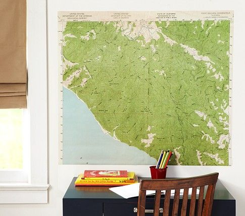 Vintage Map Mural From Pbk They Also Have A World Map And