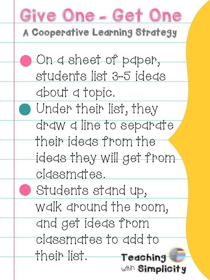 Give One \u2013 Get One is a great cooperative learning strategy and - formative assessment strategies