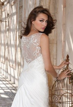 Silk Charmeuse Wedding Dress with Illusion Back from Camille La Vie ...