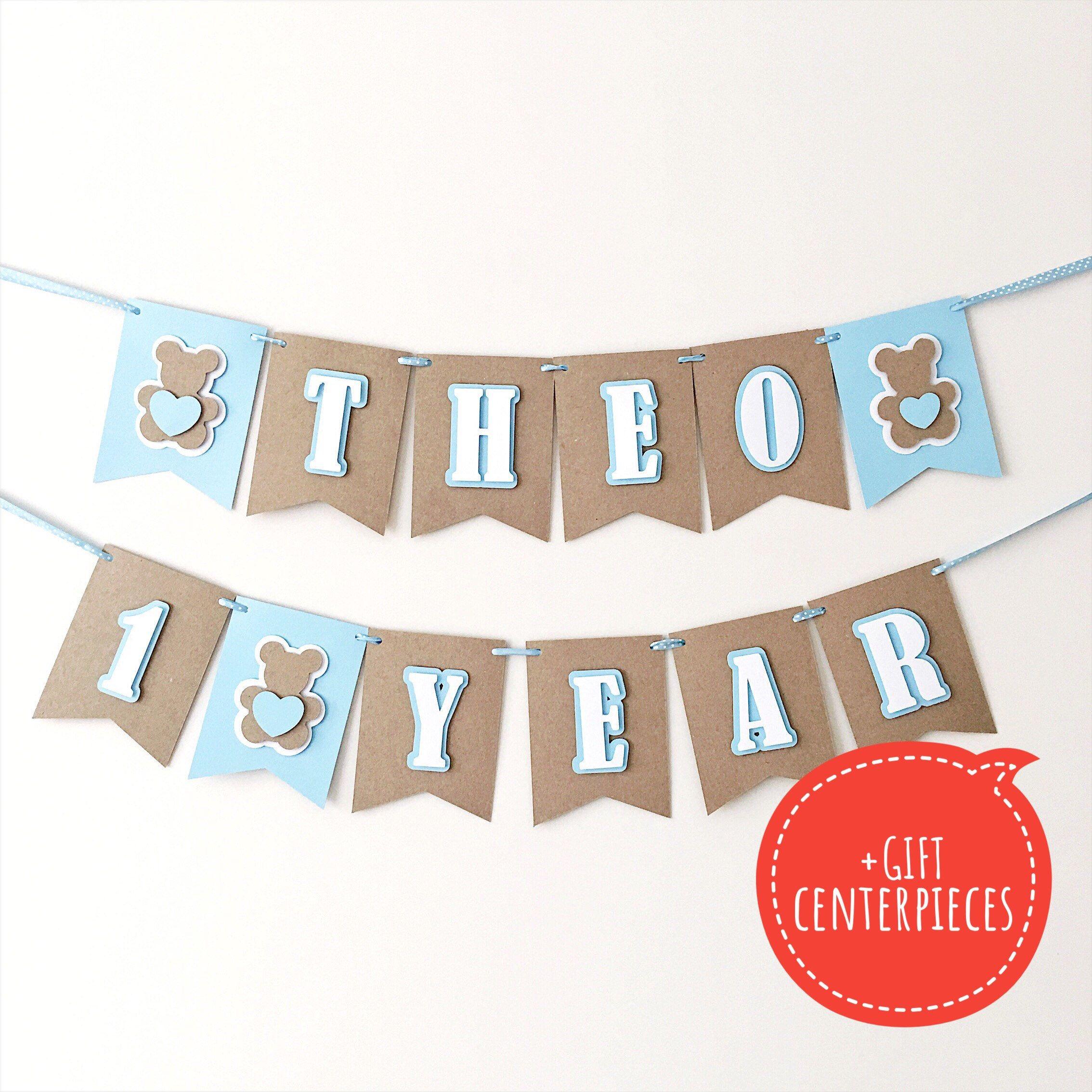 To My Shop Teddy Bear Banner Blue Brown Baby Boy
