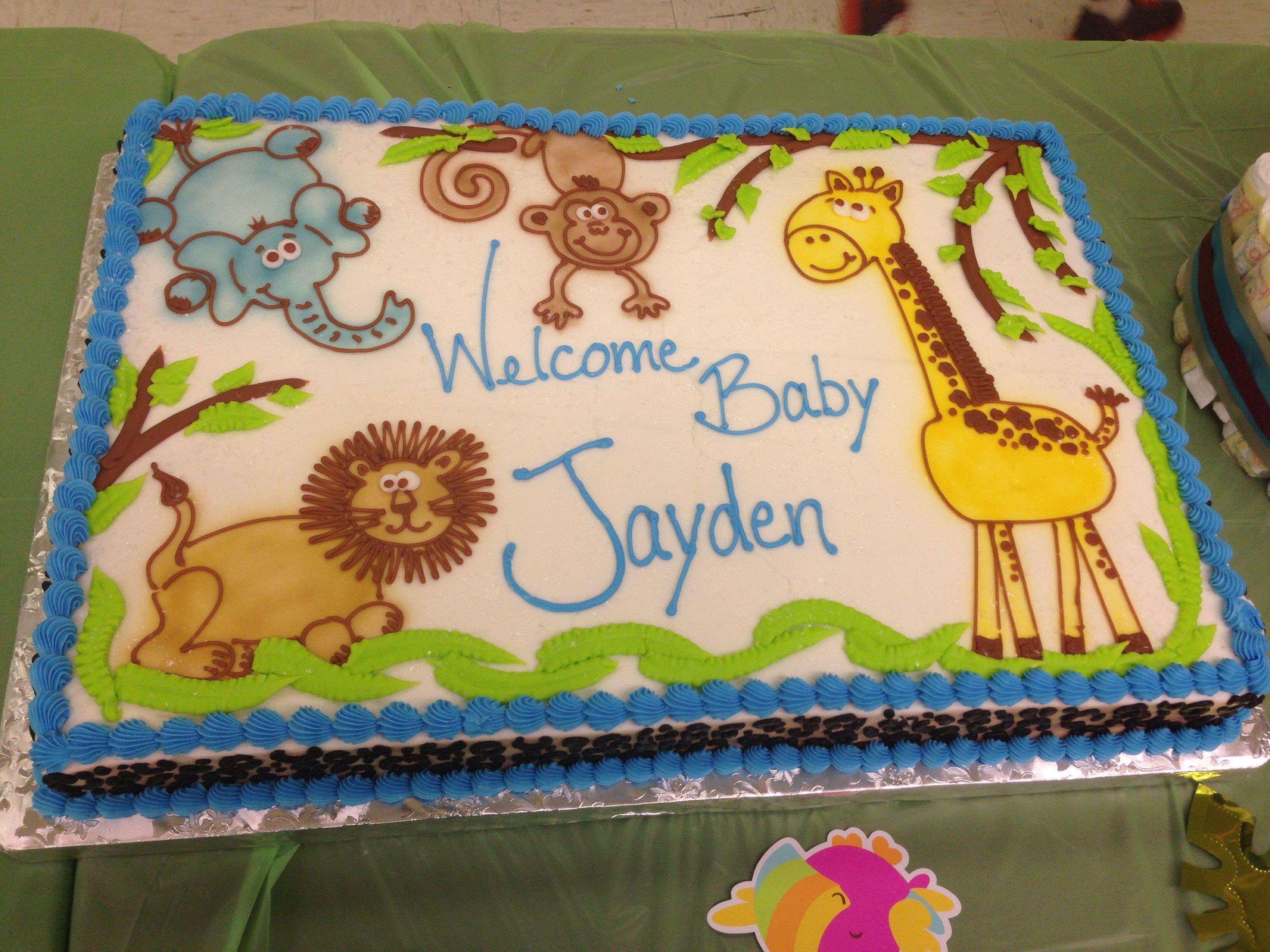 My baby shower sheet cake Jungle theme Baby boy