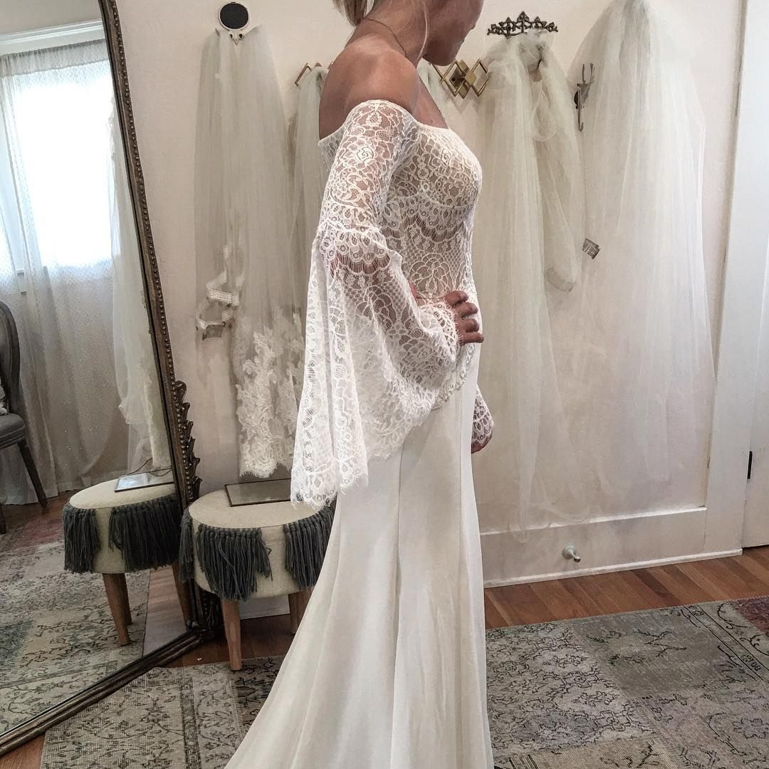 Wedding Dresses With Bell Sleeves: Bohemian Lace Bell Sleeves Wedding Gown By FLORA Identity