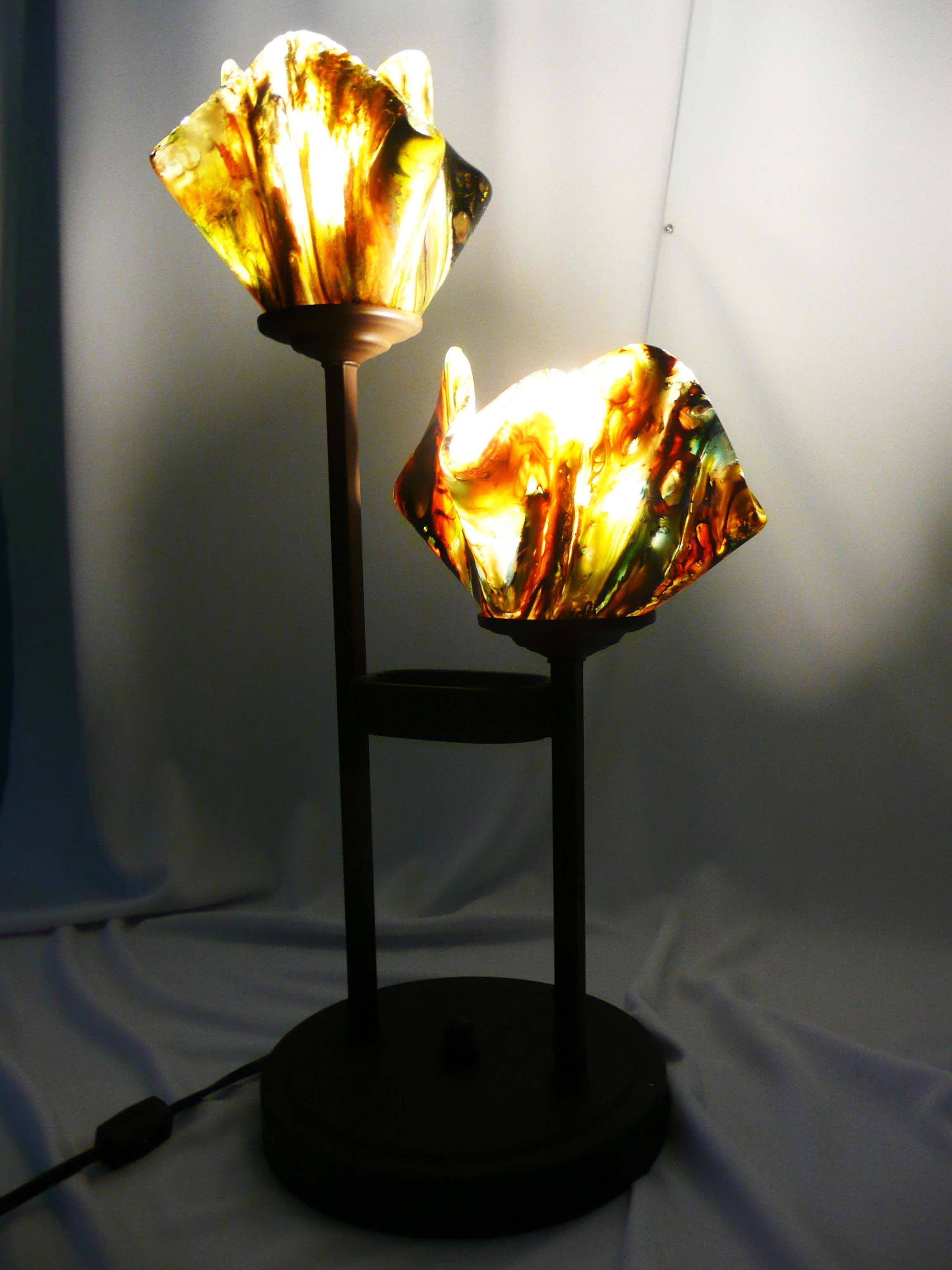 Accent Lamp Fused Glass Meshmelt Artist Stacy Owen Of Copper Moon Studio