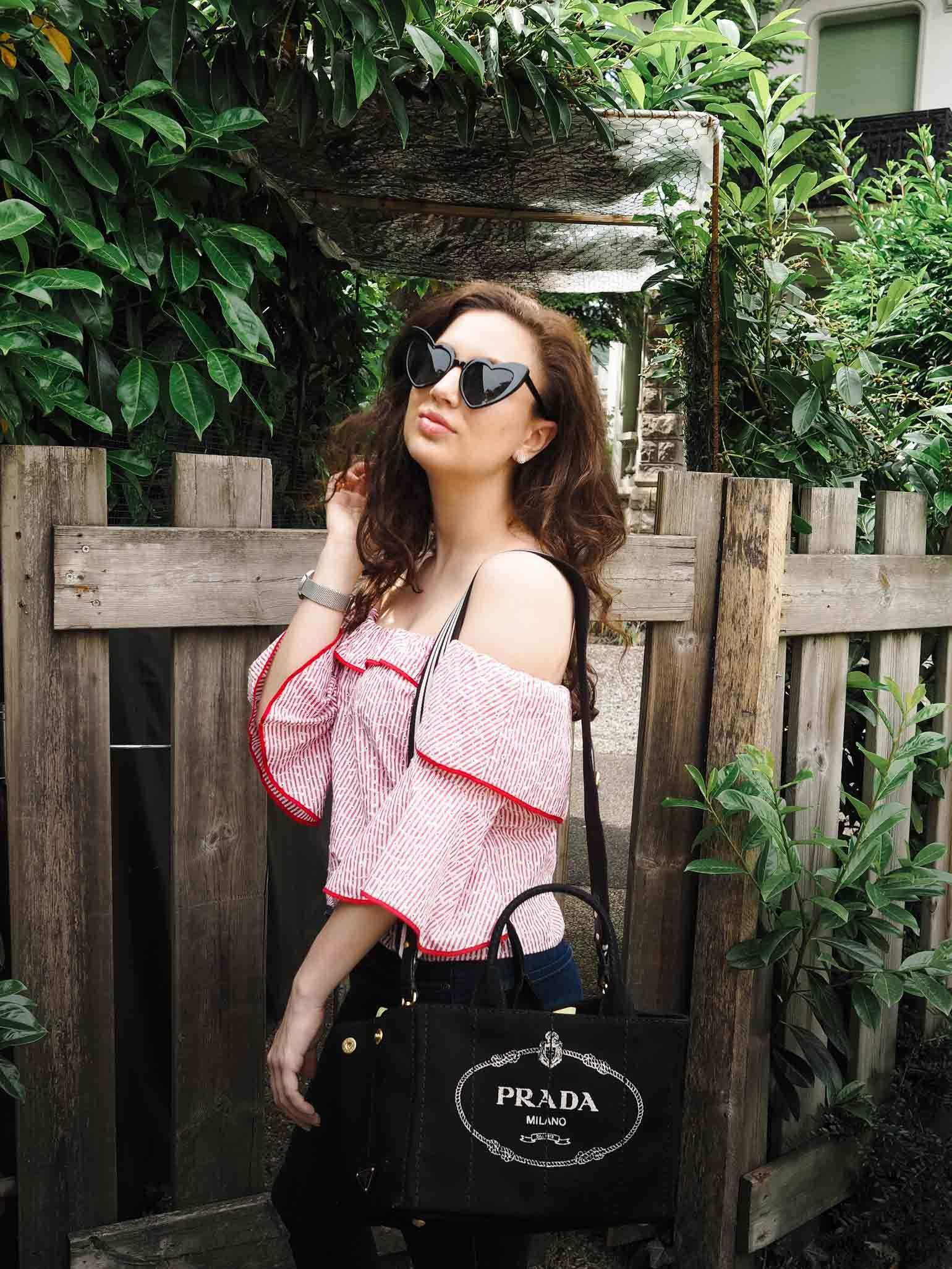 1ff3e396233 Dallas fashion blogger style; Zara off the shoulder top, Prada canvas tote,  NYDJ, skagen watch, heart sunglasses