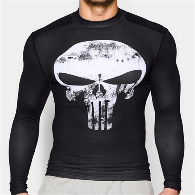 Skull Punisher Superman T-Shirt Men Fitness Compression Black Tight Marvel Shirt