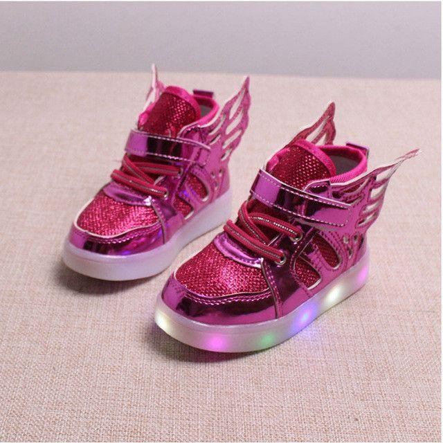 1b6aed05347d84 glowing sneakers kid Boys Girls LED shoes Angel Wings Kids light up shoes  footwear for Baby prewalker toddler Sports shoe
