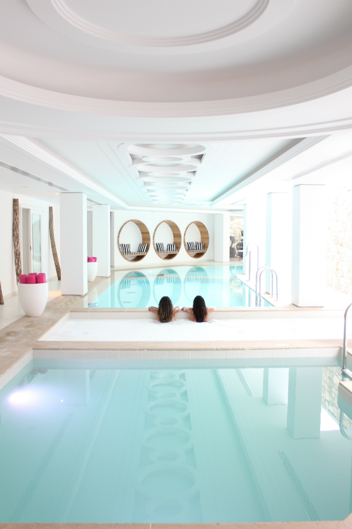 Spa time at the Myconian Villa Collection after arriving from our long flight