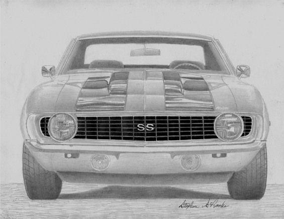 1969 Chevrolet Camaro Ss Classic Car Art Print Drawing by Stephen Rooks #classic…