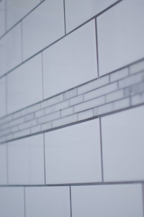 Carrera Marble Accent Tile White Subway Grey Grout Clic