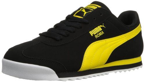 PUMA Men's Roma SL NBK 2 Sneaker,Black/Vibrant Yellow,13 M US