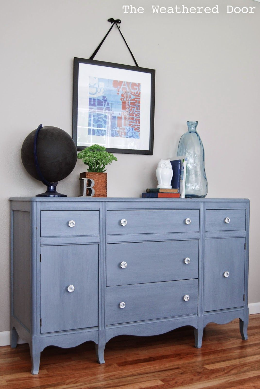 Exceptionnel Blue Grey Antique Hepplewhite Buffet [Before U0026 After] | The Weathered Door