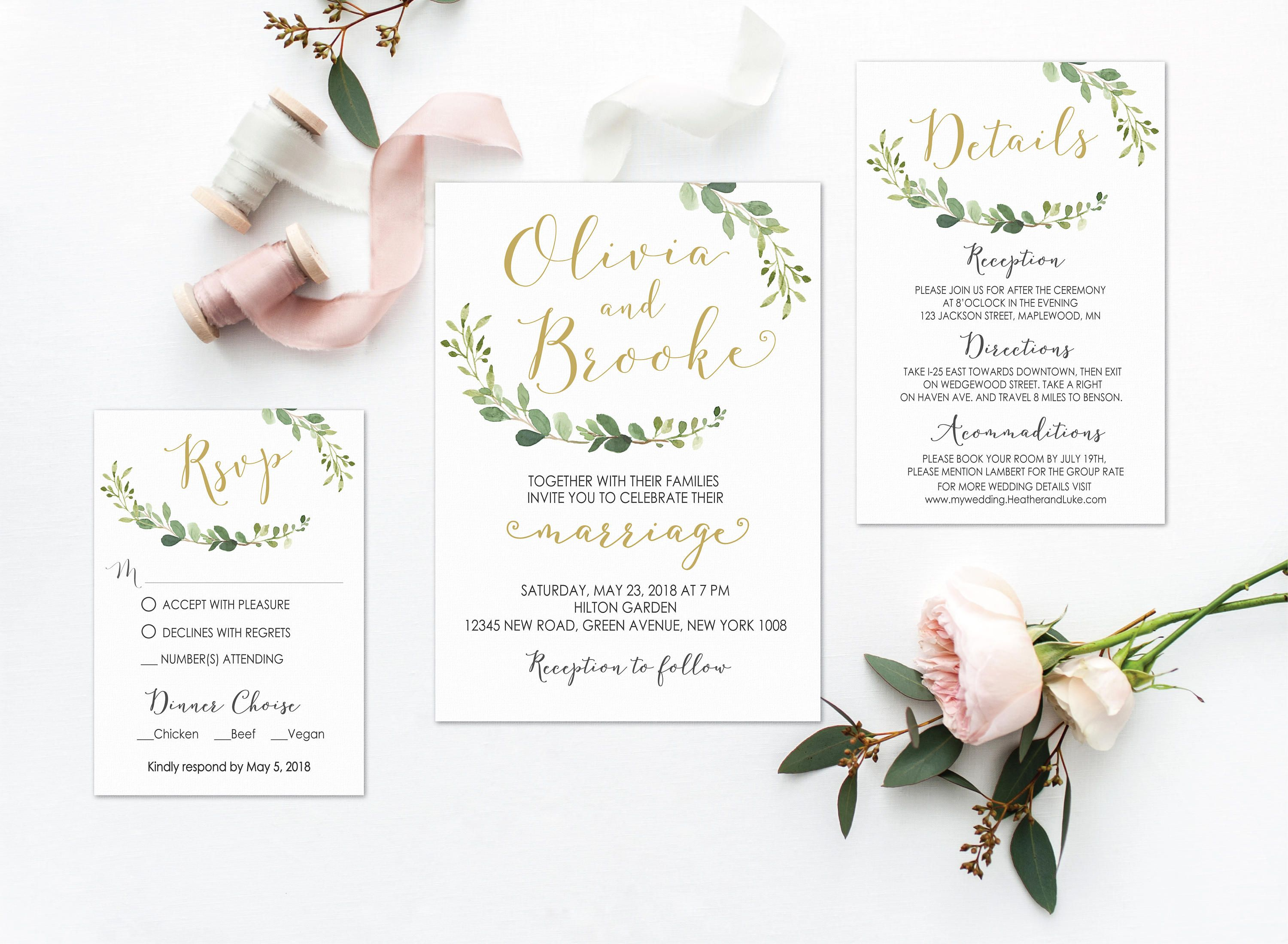 Greenery Wedding Invitation, Printable Greenery Wedding Invitation